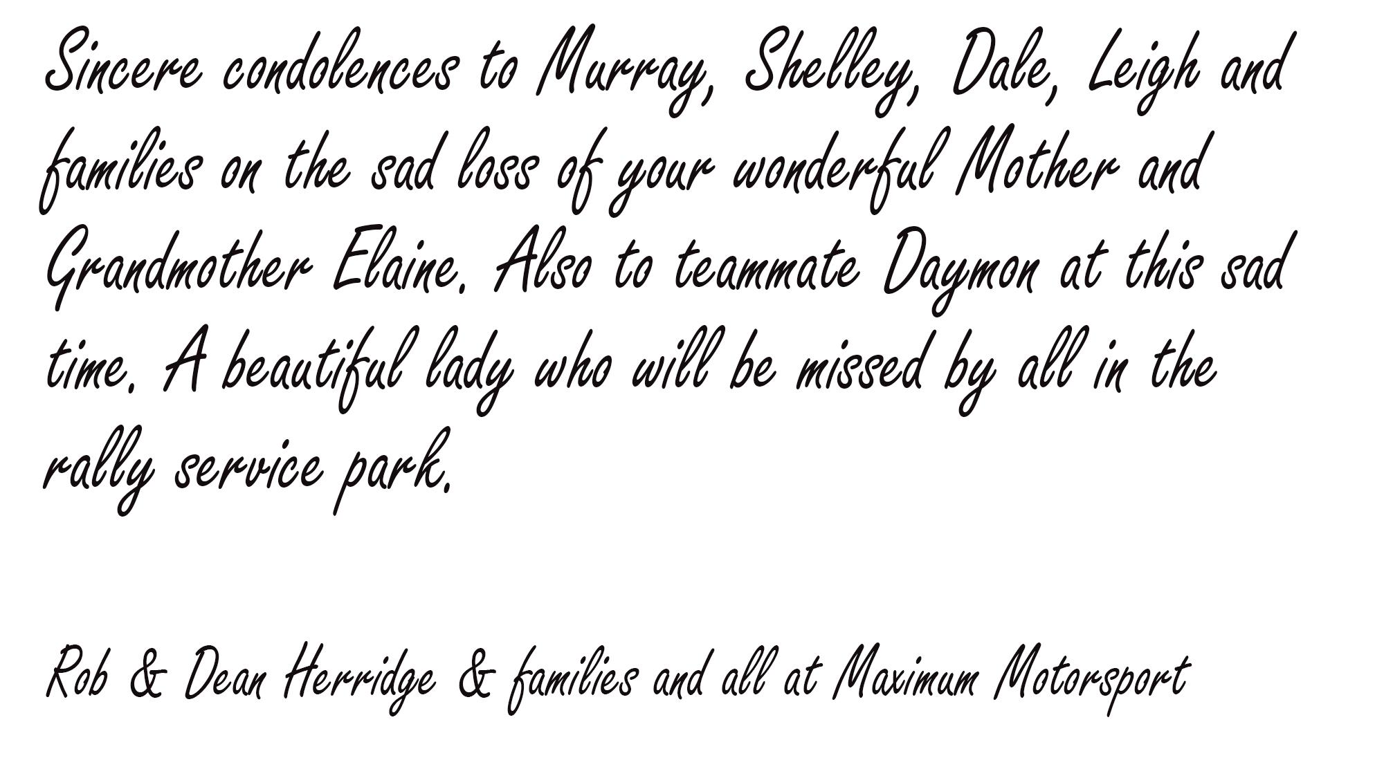 ob & Dean Herridge & families and all at Maximum Motorsport