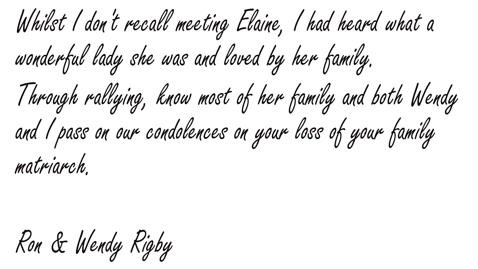 Ron and Wendy Rigby